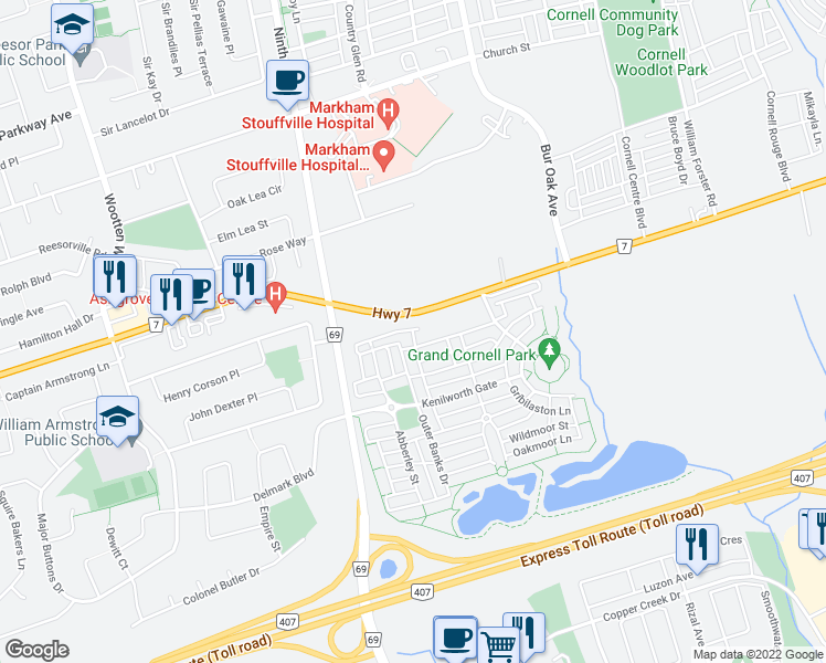 map of restaurants, bars, coffee shops, grocery stores, and more near Blanche Lane in Markham