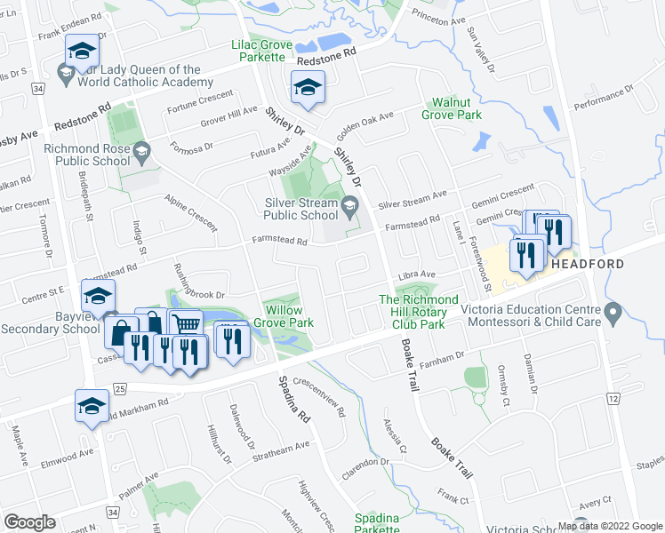 map of restaurants, bars, coffee shops, grocery stores, and more near 14 Palisade Crescent in Richmond Hill