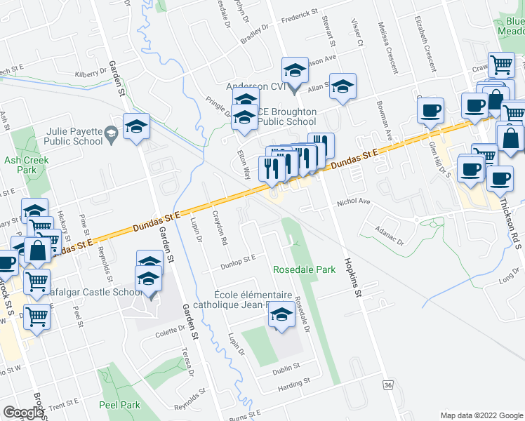 map of restaurants, bars, coffee shops, grocery stores, and more near 103 Dovedale Drive in Whitby