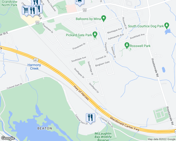 map of restaurants, bars, coffee shops, grocery stores, and more near 929 Southdown Drive in Oshawa