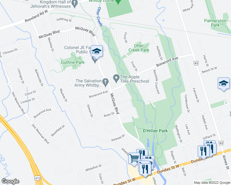map of restaurants, bars, coffee shops, grocery stores, and more near in Whitby