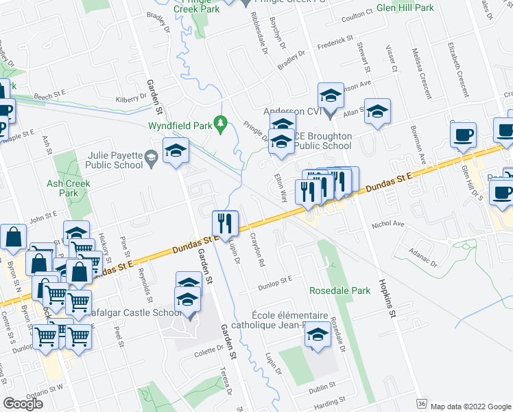 map of restaurants, bars, coffee shops, grocery stores, and more near 900 Dundas Street East in Whitby