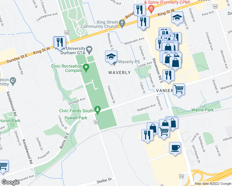 map of restaurants, bars, coffee shops, grocery stores, and more near 222 Barkley Crescent in Oshawa