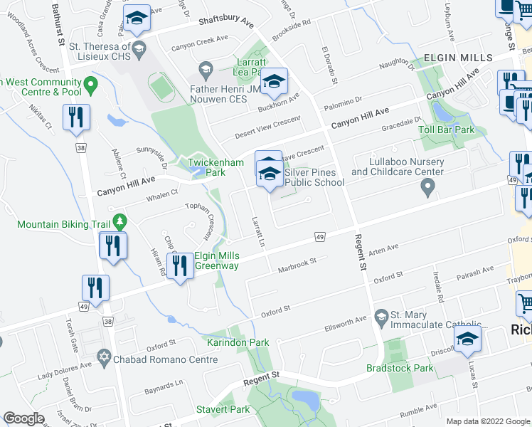 map of restaurants, bars, coffee shops, grocery stores, and more near 97 Stave Crescent in Richmond Hill