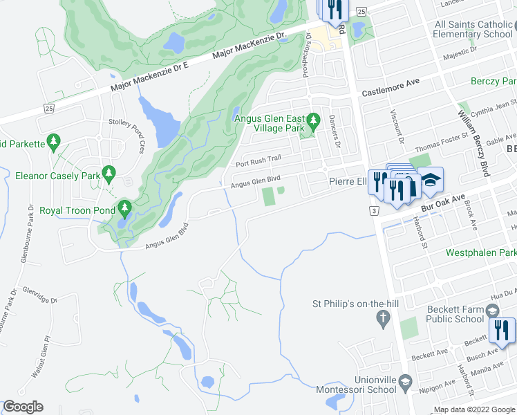 map of restaurants, bars, coffee shops, grocery stores, and more near 29 Royal Troon Crescent in Markham