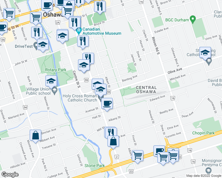 map of restaurants, bars, coffee shops, grocery stores, and more near 333 Albert Street in Oshawa