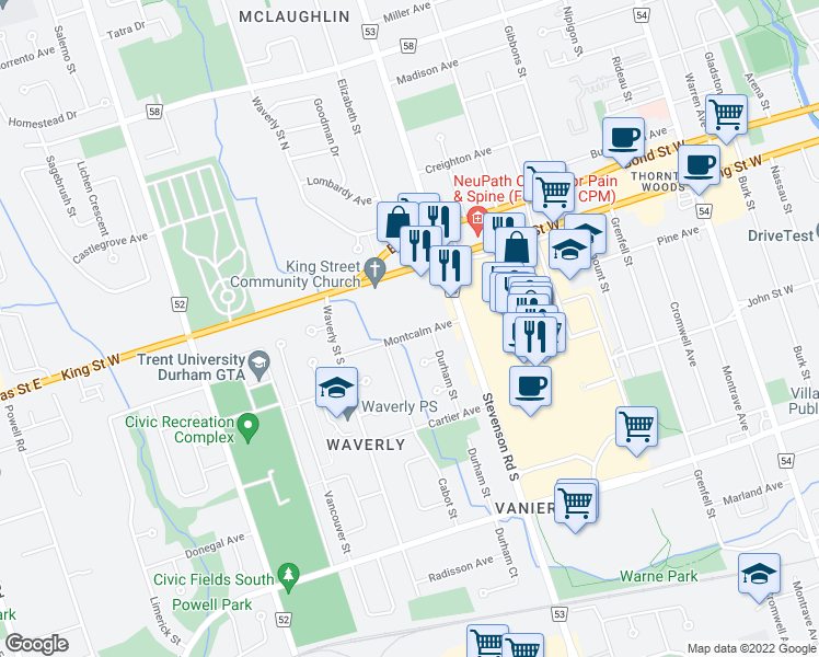 map of restaurants, bars, coffee shops, grocery stores, and more near 594 Montcalm Avenue in Oshawa
