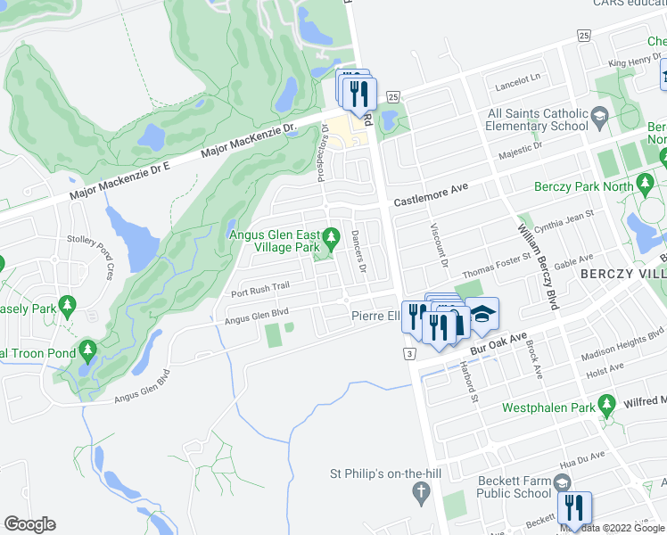 map of restaurants, bars, coffee shops, grocery stores, and more near 1 Glen Village Road in Markham