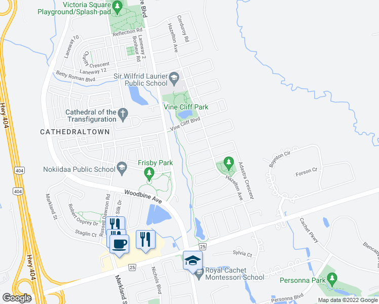 map of restaurants, bars, coffee shops, grocery stores, and more near 49 Winter Creek Crescent in Markham