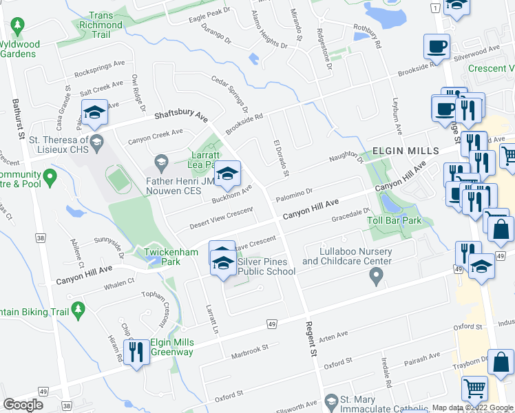 map of restaurants, bars, coffee shops, grocery stores, and more near 82 Desert View Crescent in Richmond Hill