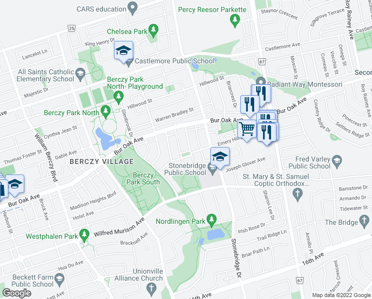 map of restaurants, bars, coffee shops, grocery stores, and more near 50 Emery Hill Boulevard in Markham