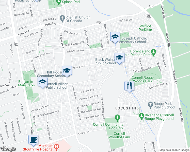 map of restaurants, bars, coffee shops, grocery stores, and more near 7 Couloir Drive in Markham