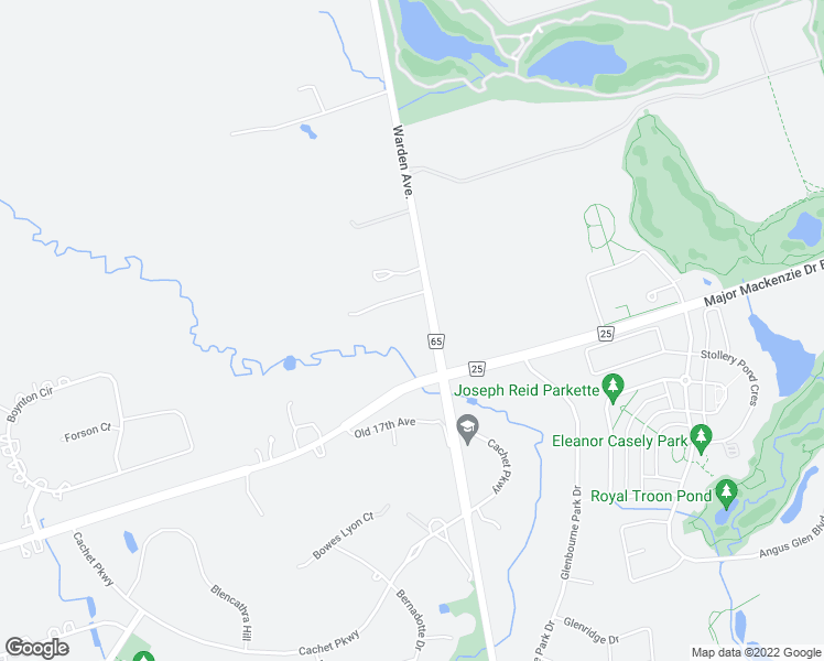 map of restaurants, bars, coffee shops, grocery stores, and more near 10084 Warden Avenue in Markham