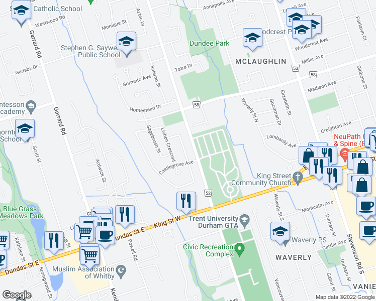map of restaurants, bars, coffee shops, grocery stores, and more near 151 Adele Crescent in Oshawa
