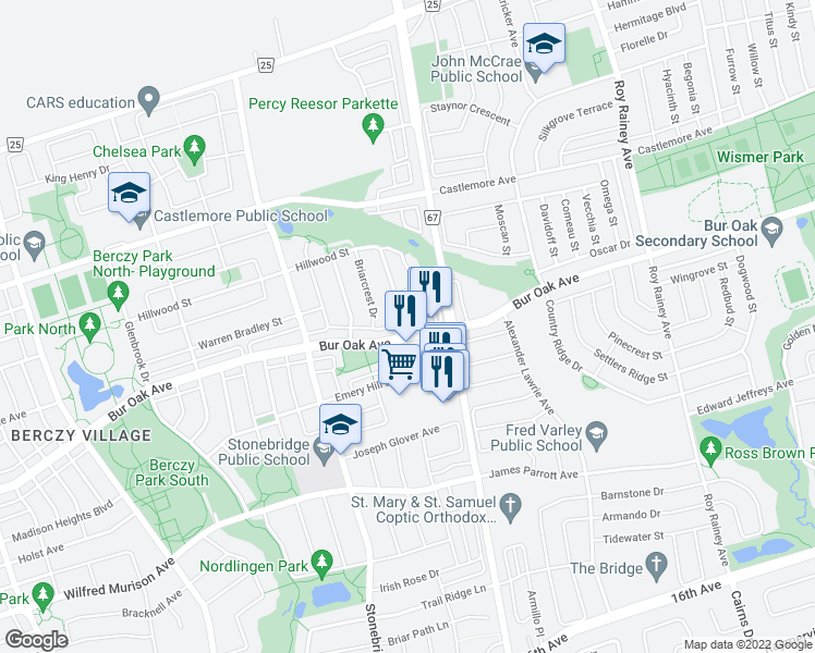 map of restaurants, bars, coffee shops, grocery stores, and more near 540 Bur Oak Avenue in Markham