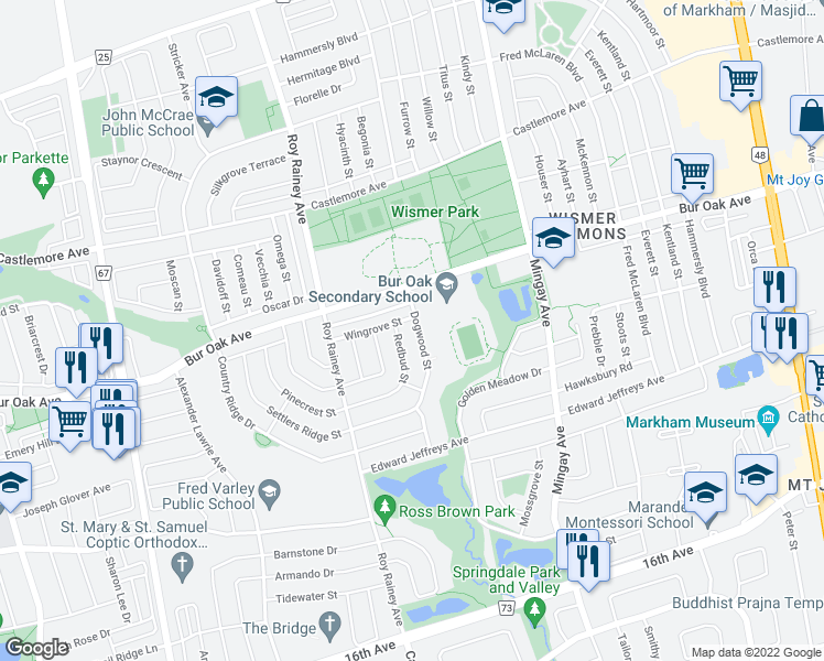 map of restaurants, bars, coffee shops, grocery stores, and more near 72 Dogwood Street in Markham