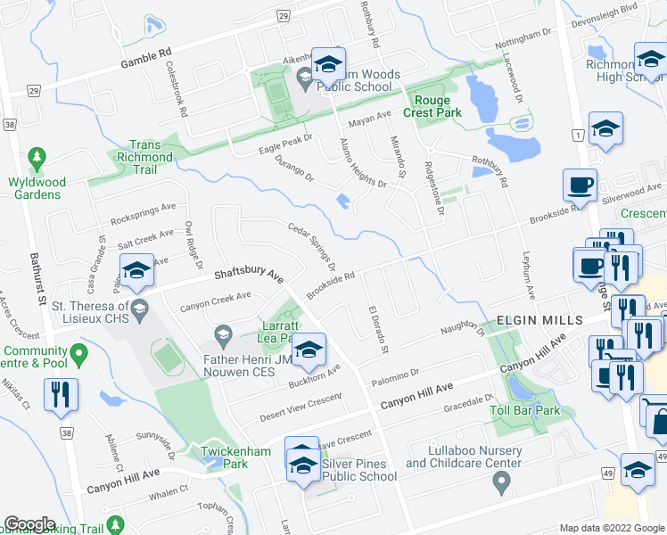 map of restaurants, bars, coffee shops, grocery stores, and more near 348 Brookside Road in Richmond Hill