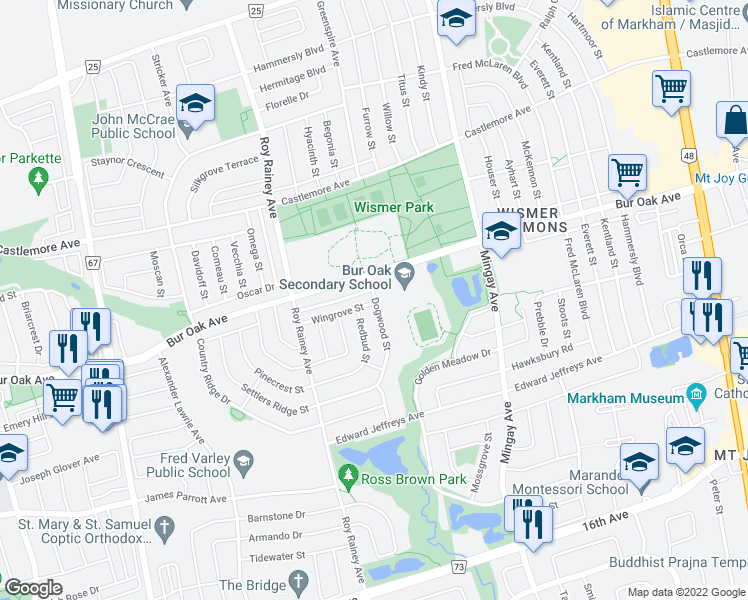 map of restaurants, bars, coffee shops, grocery stores, and more near 66 Dogwood Street in Markham