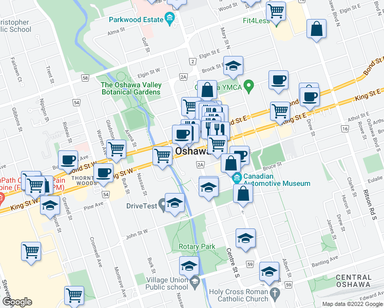 map of restaurants, bars, coffee shops, grocery stores, and more near 61 King Street West in Oshawa