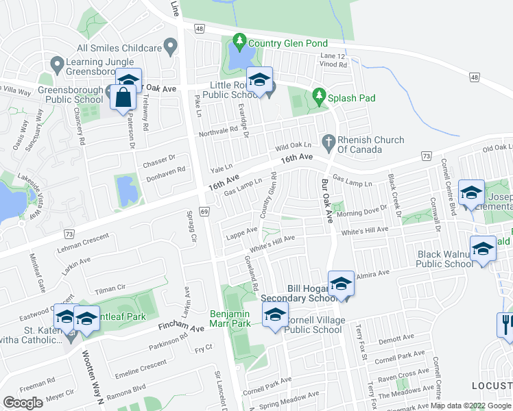 map of restaurants, bars, coffee shops, grocery stores, and more near 50 Morning Dove Drive in Markham