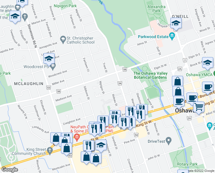 map of restaurants, bars, coffee shops, grocery stores, and more near 321 Elgin Street West in Oshawa