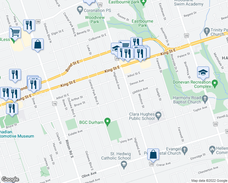 map of restaurants, bars, coffee shops, grocery stores, and more near 77 Cadillac Avenue South in Oshawa
