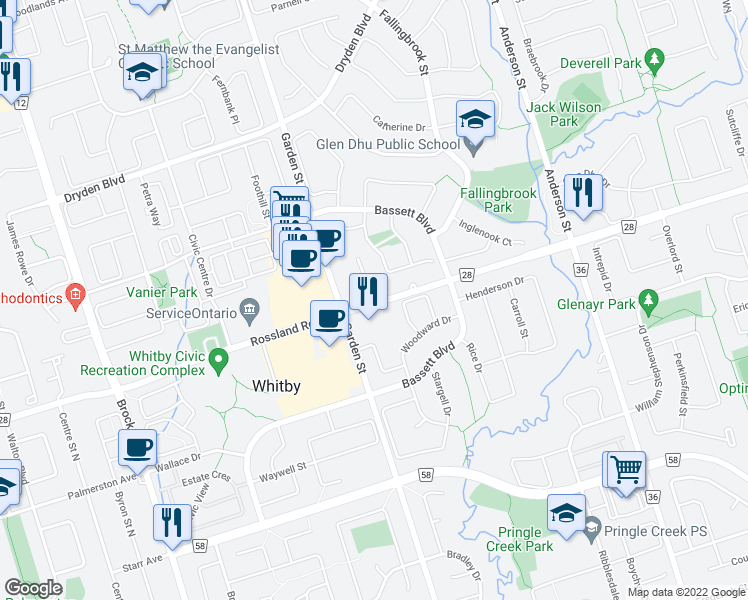 map of restaurants, bars, coffee shops, grocery stores, and more near 714 Rossland Road East in Whitby