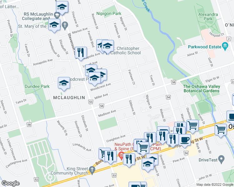 map of restaurants, bars, coffee shops, grocery stores, and more near 439 Miller Avenue in Oshawa