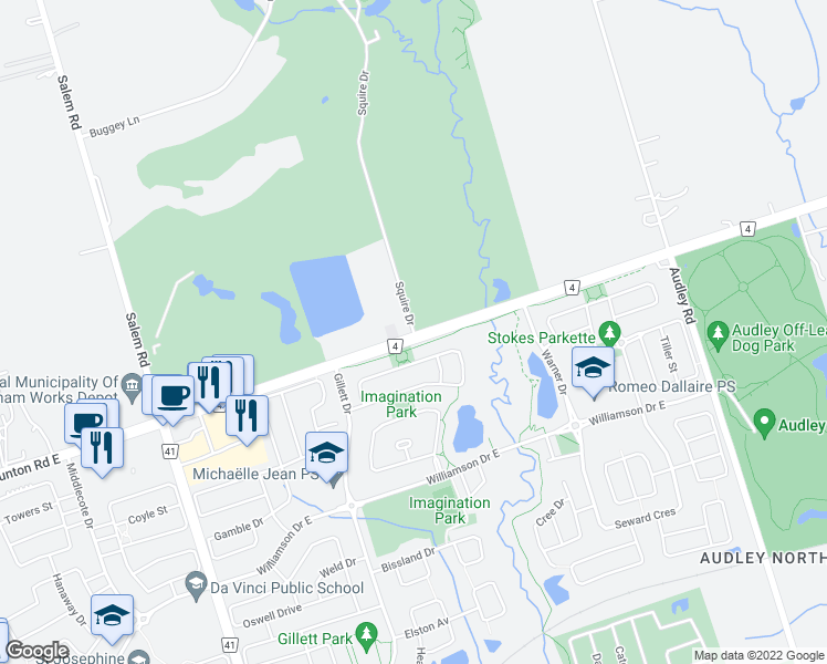 map of restaurants, bars, coffee shops, grocery stores, and more near 386 Taunton Road East in Ajax