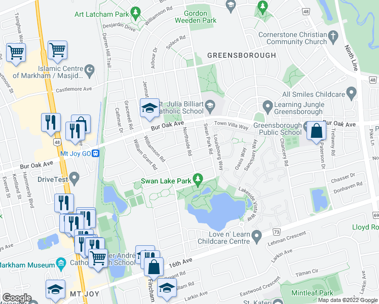 map of restaurants, bars, coffee shops, grocery stores, and more near Northside Road in Markham