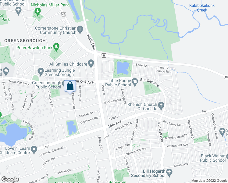 map of restaurants, bars, coffee shops, grocery stores, and more near 28 Cardrew Street in Markham