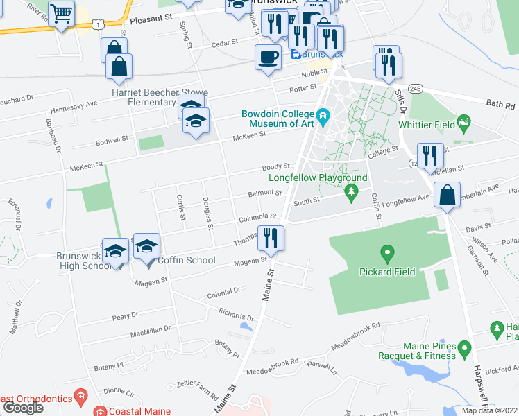 map of restaurants, bars, coffee shops, grocery stores, and more near Oakland Street in Brunswick