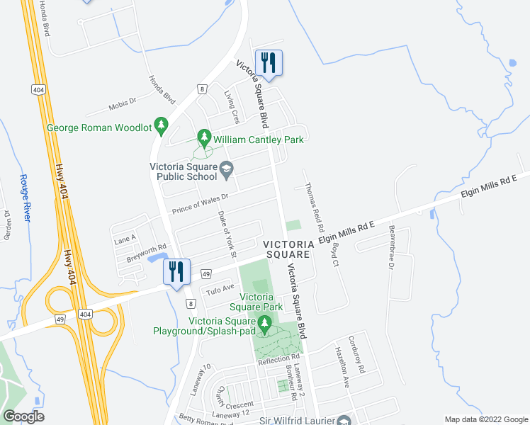 map of restaurants, bars, coffee shops, grocery stores, and more near 10760 Woodbine Avenue in Markham