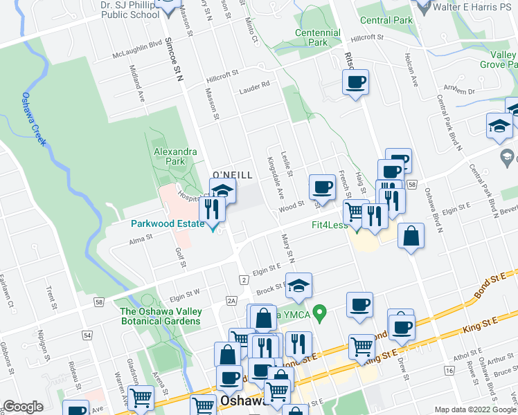 map of restaurants, bars, coffee shops, grocery stores, and more near 300 Mary Street North in Oshawa