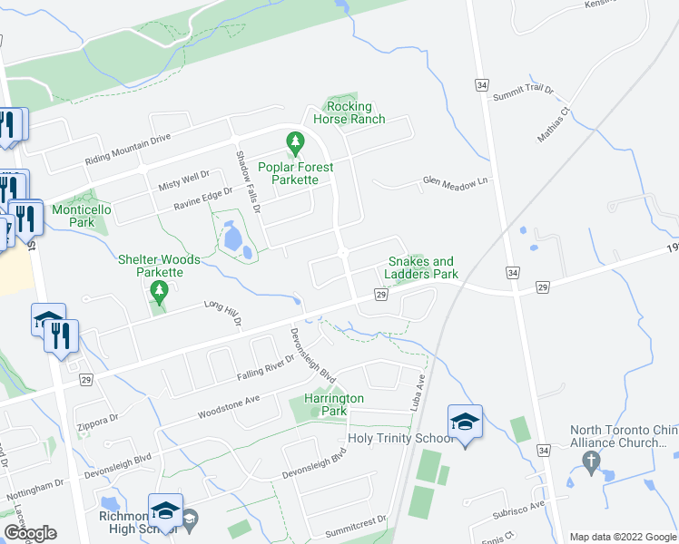 map of restaurants, bars, coffee shops, grocery stores, and more near 6 Magdalan Crescent in Richmond Hill