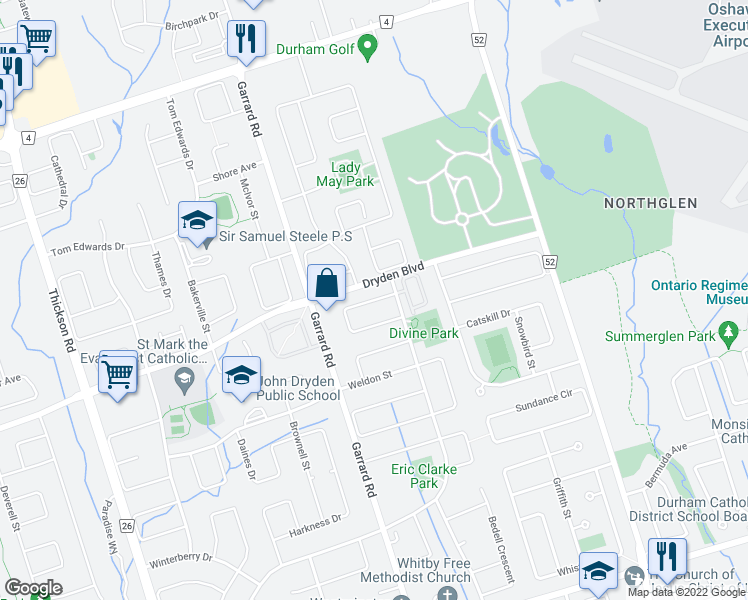 map of restaurants, bars, coffee shops, grocery stores, and more near Ian Fleming Crescent in Whitby