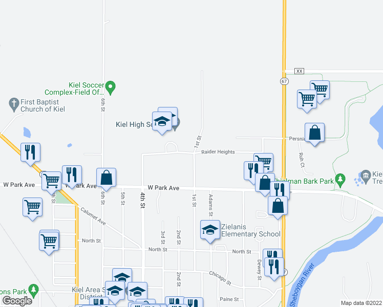 map of restaurants, bars, coffee shops, grocery stores, and more near 210 Raider Heights in Kiel