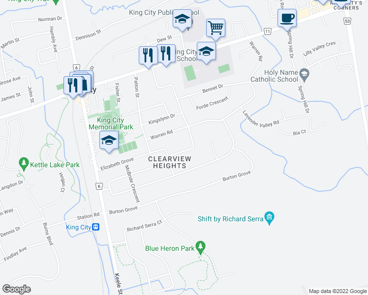 map of restaurants, bars, coffee shops, grocery stores, and more near 226 Banner Lane in King City