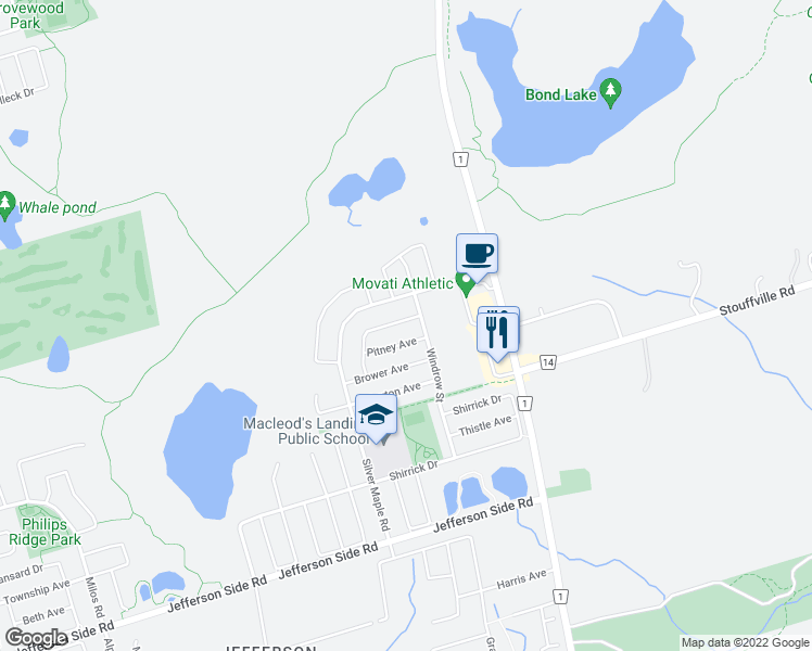 map of restaurants, bars, coffee shops, grocery stores, and more near 11 Brumstead Drive in Richmond Hill