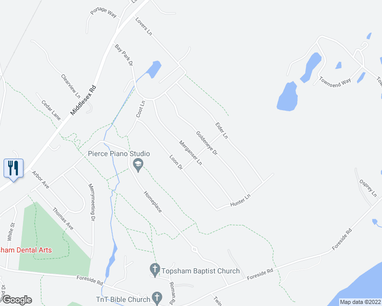 map of restaurants, bars, coffee shops, grocery stores, and more near Merganser Lane in Topsham