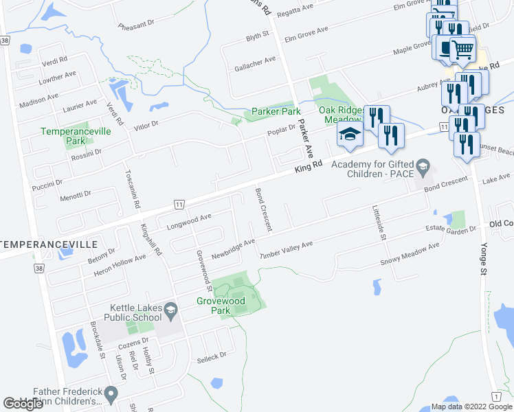 map of restaurants, bars, coffee shops, grocery stores, and more near 112 Bond Crescent in Richmond Hill