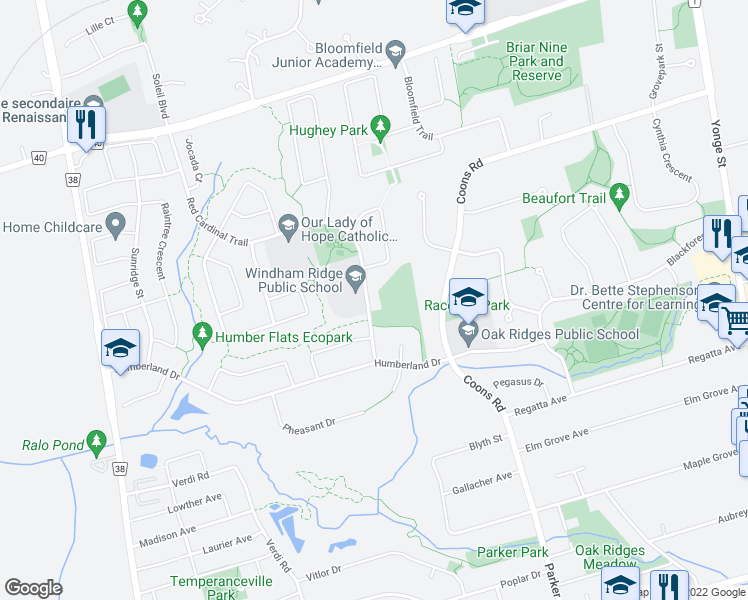 map of restaurants, bars, coffee shops, grocery stores, and more near 27 Red Cardinal Trail in Richmond Hill