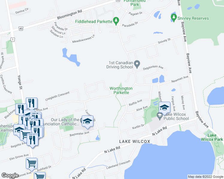 map of restaurants, bars, coffee shops, grocery stores, and more near 120 Long Point Drive in Richmond Hill