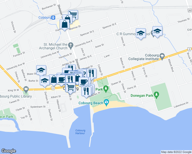 map of restaurants, bars, coffee shops, grocery stores, and more near 60 King Street East in Cobourg