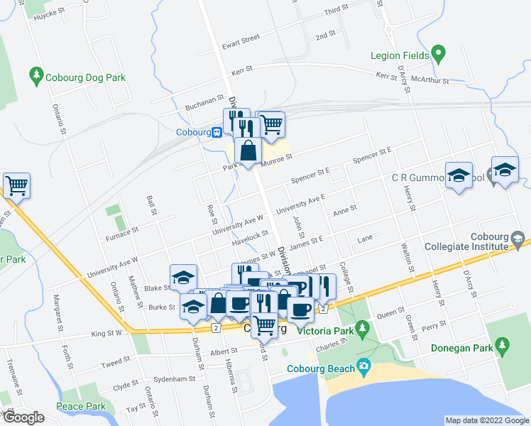 map of restaurants, bars, coffee shops, grocery stores, and more near 409 Division Street in Cobourg