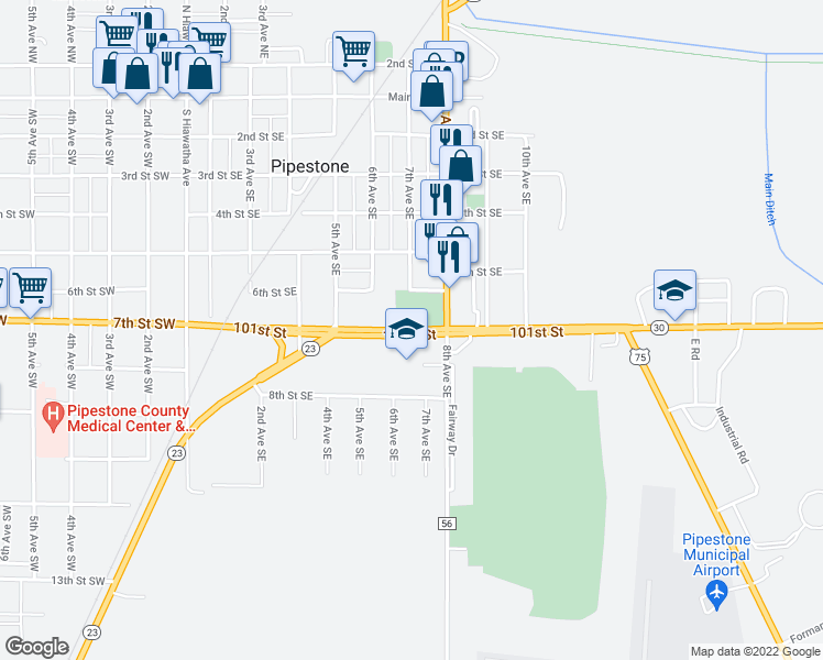 map of restaurants, bars, coffee shops, grocery stores, and more near 550-632 7th Street Southeast in Pipestone