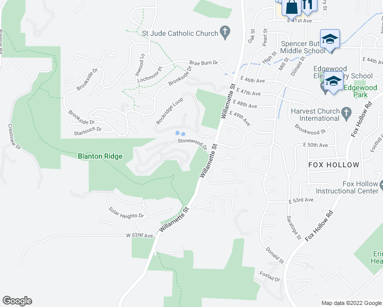 map of restaurants, bars, coffee shops, grocery stores, and more near 409-415 Stonewood Drive in Eugene