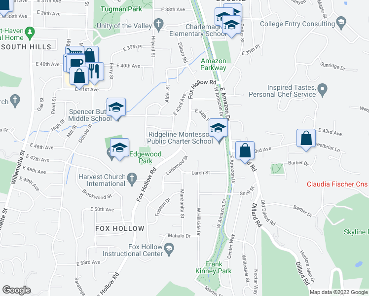 map of restaurants, bars, coffee shops, grocery stores, and more near 4427 Larkwood Street in Eugene