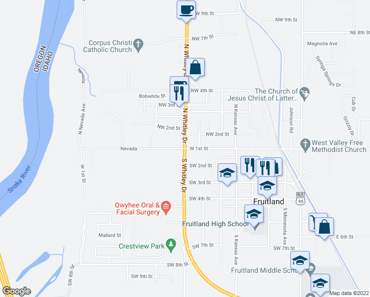 map of restaurants, bars, coffee shops, grocery stores, and more near West 1st Street in Fruitland
