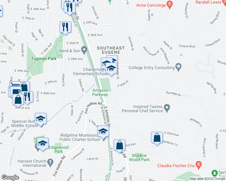 map of restaurants, bars, coffee shops, grocery stores, and more near 3950 Potter Street in Eugene